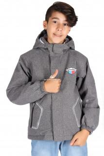 Купить оптом куртку демисезонную для мальчика серого цвета 029-2Sr в интернет магазине MTFORCE.RU