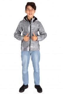 Купить оптом куртка ветровка подростковая для мальчика светло-серого цвета 034-2SS в интернет магазине MTFORCE.RU