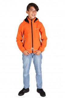 Купить оптом куртка ветровка подростковая для мальчика оранжевого цвета 034-2O в интернет магазине MTFORCE.RU