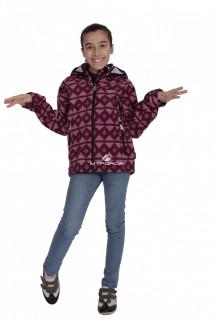 Куртка ветровка подростковая для девочки бордового цвета 034-3Bo в интернет магазине MTFORCE.RU