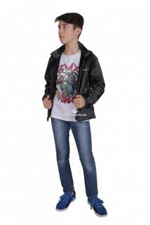 Куртка ветровка подростковая для мальчика темно-серого цвета 034-2TC в интернет магазине MTFORCE.RU