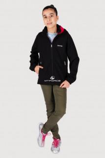 Купить оптом куртка ветровка подростковая для девочки черного цвета 034-3Ch в интернет магазине MTFORCE.RU