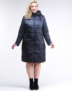 Купить оптом женскую зимнюю классику куртку большого размера темно-синего цвета в интернет магазине MTFORCE 100-916_123TS