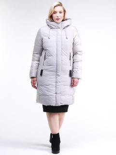 Купить оптом женскую зимнюю классику куртку большого размера серого цвета в интернет магазине MTFORCE 100-921_46Sr