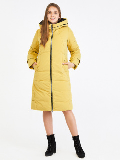 Купить оптом женскую зимнюю классику куртку с капюшоном желтого цвета в интернет магазине MTFORCE 100-927_56J