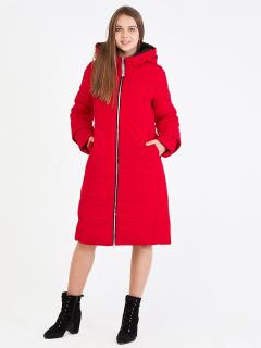 Купить оптом женскую зимнюю классику куртку с капюшоном красного цвета в интернет магазине MTFORCE 100-927_7Kr