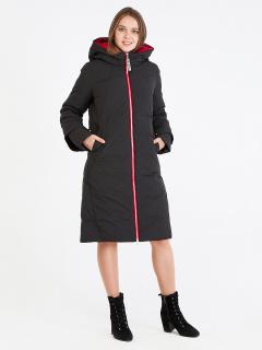 Купить оптом женскую зимнюю классику куртку с капюшоном черного цвета в интернет магазине MTFORCE 100-927_701Ch
