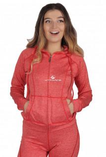 Купить оптом толстовка женская спортивная персикового цвета 1020P в интернет магазине MTFORCE.RU