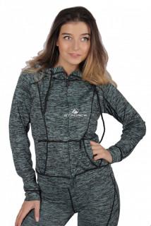 Купить оптом толстовка женская спортивная темно-зеленого цвета 1020TZ в интернет магазине MTFORCE.RU