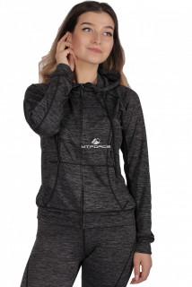 Купить оптом толстовка женская спортивная темно-серого цвета 1020ТС в интернет магазине MTFORCE.RU