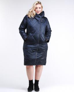 Купить оптом женскую зимнюю классику куртку большого размера темно-фиолетового цвета в интернет магазине MTFORCE 105-917_122TZ