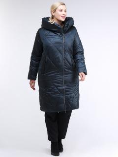 Купить оптом женскую зимнюю классику куртку большого размера темно-зеленного цвета в интернет магазине MTFORCE 105-917_123TZ