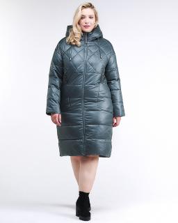 Купить оптом женскую зимнюю классику куртку стеганную темно-зеленного цвета в интернет магазине MTFORCE 105-918_16TZ
