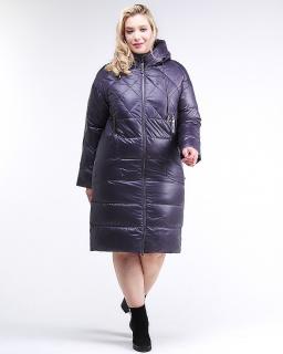 Купить оптом женскую зимнюю классику куртку стеганную темно-фиолетового цвета в интернет магазине MTFORCE 105-918_24TF