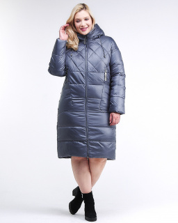 Купить оптом женскую зимнюю классику куртку стеганную темно-серого цвета в интернет магазине MTFORCE 105-918_25TC