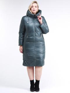 Купить оптом женскую зимнюю классику куртку большого размера темно-зеленного цвета в интернет магазине MTFORCE 108-915_16TZ