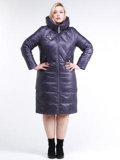 Купить оптом женскую зимнюю классику куртку большого размера темно-фиолетового цвета в интернет магазине MTFORCE 108-915_24TF