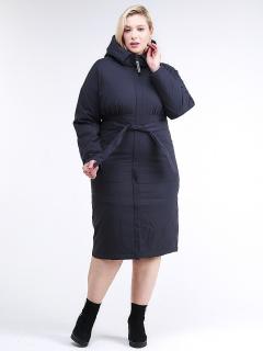 Купить оптом женскую зимнюю классику куртку большого размера темно-синего цвета в интернет магазине MTFORCE 110-905_18TS