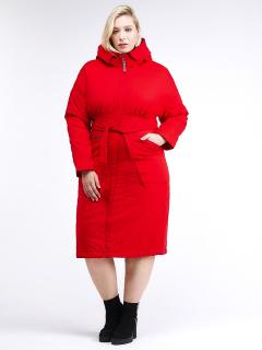 Купить оптом женскую зимнюю классику куртку большого размера красного цвета в интернет магазине MTFORCE 110-905_4Kr