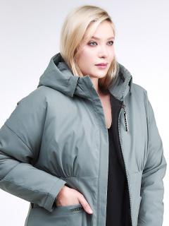 Купить оптом женскую зимнюю классику куртку большого размера цвета хаки в интернет магазине MTFORCE 110-905_7Kh