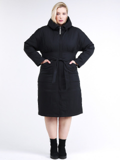Купить оптом женскую зимнюю классику куртку большого размера черного цвета в интернет магазине MTFORCE 110-905_701Ch