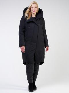 Купить оптом женскую зимнюю классику куртку большого размера черного цвета в интернет магазине MTFORCE 118-932_701Ch