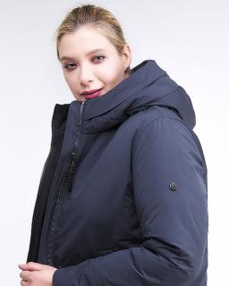 Купить оптом женскую зимнюю классику куртку большого размера темно-синего цвета в интернет магазине MTFORCE 112-919_123TS