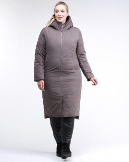 Купить оптом женскую зимнюю классику куртку большого размера коричневого цвета в интернет магазине MTFORCE 112-919_48K