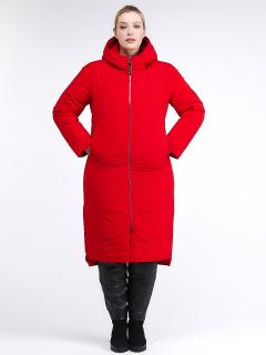 Купить оптом женскую зимнюю классику куртку большого размера красного цвета в интернет магазине MTFORCE 112-919_7Kr