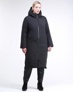Купить оптом женскую зимнюю классику куртку большого размера черного цвета в интернет магазине MTFORCE 112-919_701Ch