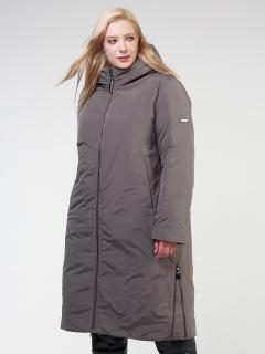Купить оптом женскую зимнюю классику куртку большого размера коричневого цвета в интернет магазине MTFORCE 114-935_48K