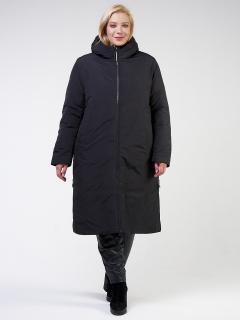 Купить оптом женскую зимнюю классику куртку большого размера черного цвета в интернет магазине MTFORCE 114-935_701Ch