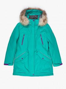 Купить оптом женскую зимнюю парку большого размера зеленого цвета в интернет магазине MTFORCE 1173Z