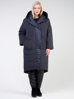 Купить оптом женскую зимнюю классику куртку большого размера темно-серого цвета в интернет магазине MTFORCE 118-931_123TC