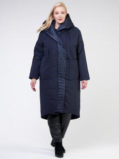 Купить оптом женскую зимнюю классику куртку большого размера темно-синего цвета в интернет магазине MTFORCE 108-915_16TZ