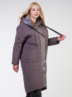Купить оптом женскую зимнюю классику куртку большого размера коричневого цвета в интернет магазине MTFORCE 118-931_36K
