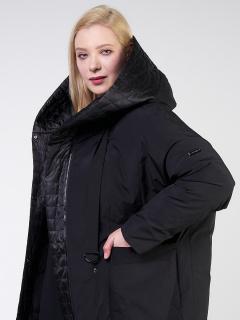 Купить оптом женскую зимнюю классику куртку большого размера черного цвета в интернет магазине MTFORCE 118-931_701Ch