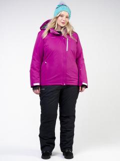 Горнолыжный костюм женский зимний большого размера фиолетового цвета купить оптом в интернет магазине MTFORCE 011982F