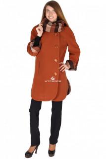Купить оптом пальто женское коричневого цвета 14142К в интернет магазине MTFORCE.RU