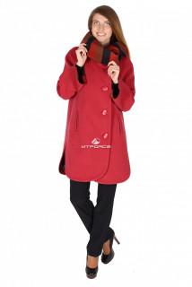 Купить оптом пальто женское красного цвета 14142Кr в интернет магазине MTFORCE.RU