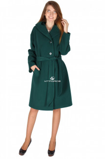 Купить оптом пальто женское темно-зеленого цвета 15249TZ в интернет магазине MTFORCE.RU