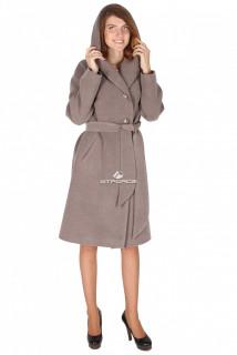 Купить оптом пальто женское серого цвета 15249Sr в интернет магазине MTFORCE.RU