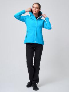 Женский осенний весенний костюм спортивный softshell голубого цвета купить оптом в интернет магазине MTFORCE 02038Gl