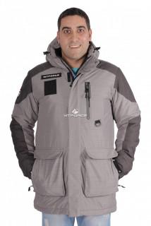 Купить оптом куртка зимняя удлиненная мужская серого цвета 1627Sr в интернет магазине MTFORCE.RU