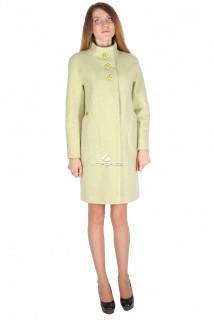 Купить оптом пальто женское салатового цвета 16291Sl в интернет магазине MTFORCE.RU