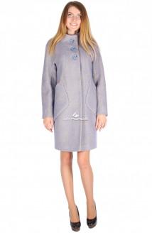 Купить оптом пальто женское фиолетового цвета 16291F в интернет магазине MTFORCE.RU
