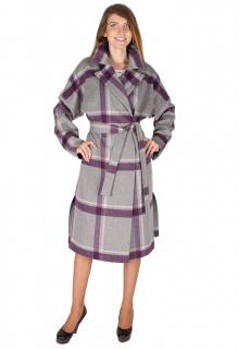 Купить оптом пальто женское фиолетового цвета 16304F в интернет магазине MTFORCE.RU