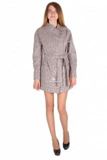 Купить оптом полупальто женское серого цвета 16309-1B в интернет магазине MTFORCE.RU