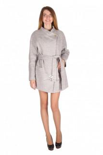 Купить оптом полупальто женское серого цвета 16309Sr в интернет магазине MTFORCE.RU