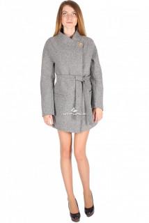 Купить оптом полупальто женское серого цвета 16309-1Sr в интернет магазине MTFORCE.RU